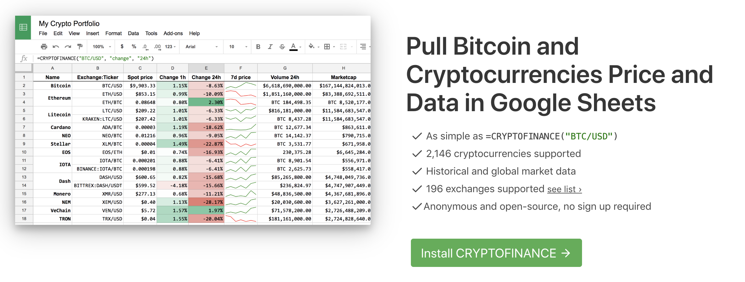 Cryptofinance for Google Sheets